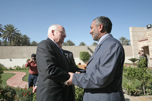Vice President Dick Cheney meets with Iraqi Council of Representatives Speaker Mashhadani Monday, March 17, 2008, during a visit to Mashhadani's home in Baghdad. During his visit to Baghdad the Vice President met with Iraqi leadership to discuss energy legislation, long-term security issues and the development of regional diplomatic relationships. White House photo by David Bohrer