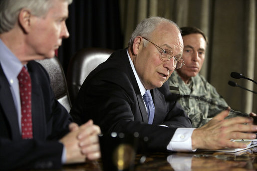 "Vice President Dick Cheney answers a reporter's question Monday, March 17, 2008, during press availability inside the Green Zone in Baghdad. In later commenting on the day's briefings from U.S. officials and Iraqi leadership the Vice President said that he will be ""pleased to be able to return next week to Washington and report back to the President that we are making significant progress in Iraq."" White House photo by David Bohrer"