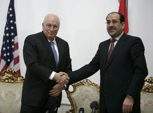"Vice President Dick Cheney shakes hands with Iraqi Prime Minister Nouri al-Maliki following their meeting Monday, March 17, 2008 at the Prime Minister's residence in Baghdad. ""I found the Vice President a man who understands very well and is very keen about Iraq's success,"" said Prime Minister Maliki, adding, ""I believe these visits really cement and support the relationship between the two countries, the success that we achieve in Iraq against terrorism, and in the war against terrorism."" White House photo by David Bohrer"
