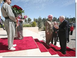 Vice President Dick Cheney is greeted by Kurdish Regional Government President Massoud Barzani Tuesday, March 18, 2008 upon arrival to the president's residence in Irbil, Iraq. The Vice President's visit to Irbil comes on the second day of an unannounced trip to Iraq where he has met with Iraqi leadership, U.S. officials and U.S. troops.  White House photo by David Bohrer