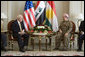 "Vice President Dick Cheney meets with Kurdish Regional Government President Massoud Barzani Tuesday, March 18, 2008 in the northern Iraqi city of Irbil. During the press availability following the meeting, the KRG president voiced his appreciation of the sacrifices given by Americans to liberate the Iraqi people and said, ""We will be with you in one trench, and without any hesitation or reservation, to fight terrorism and also to succeed in our efforts in the democratic process and also in building a free and prosperous Iraq."" White House photo by David Bohrer"
