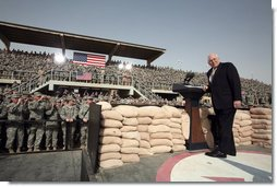 Vice President Dick Cheney receives a welcome Tuesday, March 18, 2008, to a rally for U.S. troops at Balad Air Base, Iraq. White House photo by David Bohrer