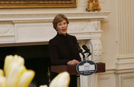 Mrs. Laura Bush welcomes guests to a tea Wednesday, March 19, 2008 in the State Dining Room at the White House, in honor of Nowruz, the Persian New Year celebration. A family-oriented holiday, Nowruz celebrates the Persian New Year and the coming of spring. White House photo by Patrick Tierney