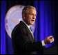 "President George W. Bush delivers remarks on the Global War on Terror during a visit Wednesday, March 19, 2008, to the Pentagon. In addressing representatives from each branch of the military -- including some who served in the theater at the beginning of Operation Iraqi Freedom, the President said, ""Five years into this battle, there is an understandable debate over whether the war was worth fighting, whether the fight is worth winning, and whether we can win it. The answers are clear to me: Removing Saddam Hussein from power was the right decision -- and this is a fight America can and must win."" White House photo by Eric Draper"