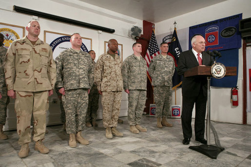 "Vice President Dick Cheney addresses U.S. troops Thursday, March 20, 2008, during a dinner at Bagram Air Base, Afghanistan. During his remarks the Vice President said, ""A lot of history is being made here every single day. Much of the credit goes to all of you. The President and I get regular briefings on the action here, and we don't take you for granted for a single moment."" White House photo by David Bohrer"