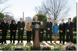 President George W. Bush, joined by the council members from the President's Council on Physical Fitness and Sports, announces the start of the National President's Challenge Thursday, March 20, 2008 in the East Garden at the White House. The National President's Challenge is a six-week physical activity challenge designed to get America up and moving 30 minutes a day, five days a week. White House photo by Joyce N. Boghosian