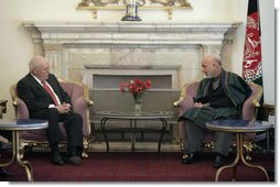 Vice President Dick Cheney meets with President Hamid Karzai of the Islamic Republic of Afghanistan Thursday, March 20, 2008 at Gul Khana Palace in Kabul. During the meeting the Vice President reaffirmed the bonds of friendship and cooperation between the United States and Afghanistan and ensured continued U.S. leadership in helping the people of Afghanistan rebuild their country. White House photo by David Bohrer