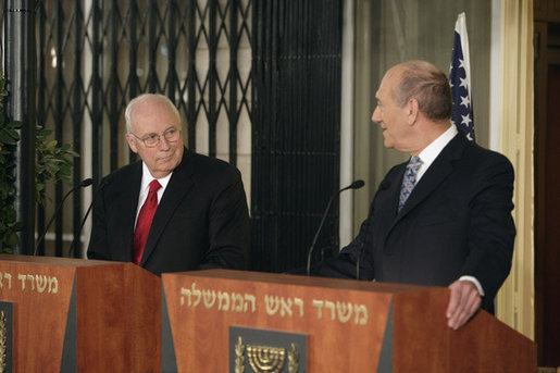 Vice President Dick Cheney looks on as Prime Minister of Israel Ehud Olmert delivers a statement Saturday, March 22, 2008 during a press availability at the prime minister's residence in Jerusalem. The Vice President is scheduled to meet with both Israeli and Palestinian leadership over Easter weekend to discuss President Bush's commitment to a two state solution for Israeli-Palestinian peace. White House photo by David Bohrer