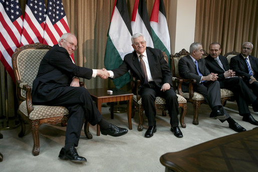 Vice President Dick Cheney and President Mahmoud Abbas of the Palestinian Authority shake hands Sunday, March 23, 2008, during their meeting at the Muqata in Ramallah. White House photo by David Bohrer