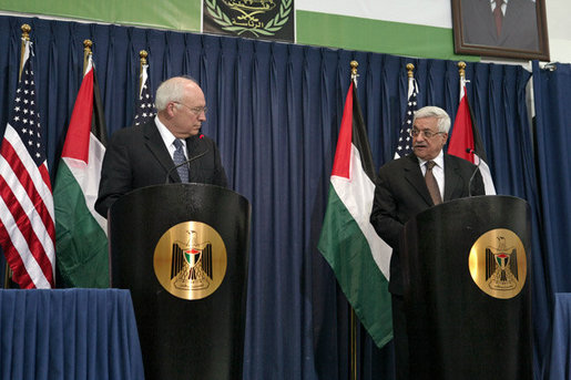Vice President Dick Cheney and President Mahmoud Abbas of the Palestinian Authority deliver statements Sunday, March 23, 2008, following their meeting to discuss the Mideast peace process in Ramallah. White House photo by David Bohrer