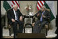 Vice President Dick Cheney meets with Palestinian Prime Minister Salam Fayyad Sunday, March 23, 2008, in the West Bank city of Ramallah. White House photo by David Bohrer