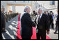 Vice President Dick Cheney shakes hands with Palestinian President Mahmud Abbas Sunday, March 23, 2008 upon departure from the Muqata in the West Bank city of Ramallah. White House photo by David Bohrer