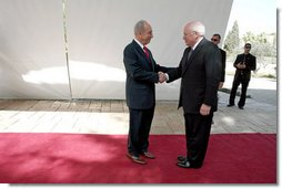 Vice President Dick Cheney is greeted by Israeli President Shimon Peres Sunday, March 23, 2008 for a meeting at the presidential residence in Jerusalem. White House photo by David Bohrer