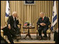 Vice President Dick Cheney meets with Israeli President Shimon Peres Sunday, March 23, 2008 at the presidential residence in Jerusalem. During the meetings Vice President Cheney expressed America's commitment to move forward with the Middle East peace process while addressing threats to both Israel and the U.S. White House photo by David Bohrer