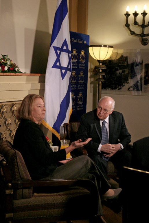 Vice President Dick Cheney meets with Israeli Foreign Minister Tzipi Livni Sunday, March 23, 2008, at the Kind David Hotel in Jerusalem. Throughout the day the Vice President met with leaders from Israel and the Palestinian Authority to discuss the on-going Middle East peace process. White House photo by David Bohrer