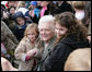 "Former first lady Barbara Bush is surrounded by children as she poses for photos Monday, March 24, 2008, following her reading at the 2008 White House Easter Egg Roll, where she read ""Arthur's New Puppy."" White House photo by Chris Greenberg"