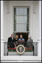 Mrs. Laura Bush, joined by President George W. Bush, daughter, Jenna, and former first lady Barbara Bush, welcomes guests Monday, March 24, 2008 to the South Lawn of the White House, for the 2008 White House Easter Egg Roll. White House photo by Joyce N. Boghosian