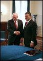 Vice President Dick Cheney shakes hands with President Gul of Turkey Monday, March 24, 2008 during their meeting at the presidential residence in Ankara, Turkey. White House photo by David Bohrer