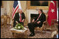 Vice President Dick Cheney meets with Prime Minister Tayyip Erdogan of Turkey Monday, March 24, 2008 in Ankara. During his visit to Turkish capital the Vice President had conversations with the executive leadership on Afghanistan, northern Iraq and energy security. White House photo by David Bohrer