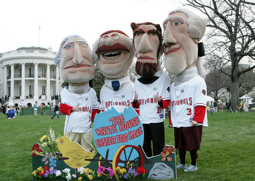 The Presidential character mascots of the Washington Nationals baseball team, Thomas Jefferson, Teddy Roosevelt, Abraham Lincoln and George Washington participate Monday, March 24, 2008 on the South Lawn of the White House, at the 2008 White House Easter Egg Roll. White House photo by Joyce N. Boghosian