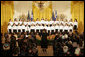 The Greek Orthodox Archdiocesan Metropolitan Youth Choir performs at the Celebration of Greek Independence Day Tuesday, March 25, 2008, in the East Room of the White House. White House photo by Joyce N. Boghosian