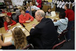 Mrs. Laura Bush, joined by Kansas U.S. Senator Pat Roberts, visits with students Tuesday, March 25, 2008, at the Rolling Ridge Elementary School in Olathe, Kansas. Mrs. Bush honored the school and students for their exceptional volunteer work. White House photo by Shealah Craighead
