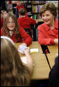 Mrs. Laura Bush meets with students at the Rolling Ridge Elementary School Tuesday, March 25, 2008, in Olathe, Kansas, where Mrs. Bush honored the school and students for their amazing efforts to volunteer and help others. White House photo by Shealah Craighead
