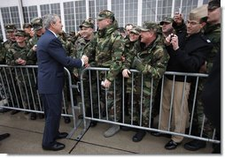 President George W. Bush greets U.S. military personnel on his arrival to Wright-Patterson Air Force Base Thursday, March 27, 2008, in Ohio. White House photo by Eric Draper