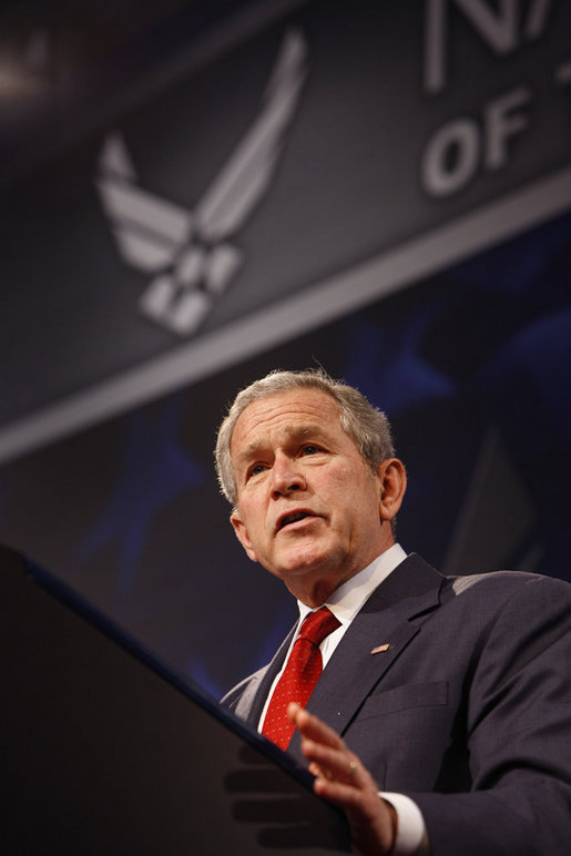 President George W. Bush addresses his remarks on the Global War on Terror Thursday, March 27, 2008, at the National Museum of the United States Air Force in Dayton, Ohio. White House photo by Eric Draper
