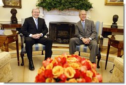 President George W. Bush meets with Australian Prime Minister Kevin Rudd Friday, March 28, 2008, in the Oval Office. White House photo by Eric Draper