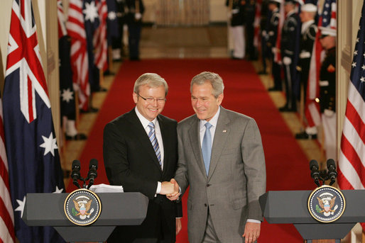 President George W. Bush and Australian Prime Minister Kevin Rudd shake hands at the conclusion of their joint press availability in the East Room of the White House Friday, March 28, 2008. White House photo by Joyce N. Boghosian