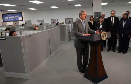 President George W. Bush delivers remarks on housing Friday, March 28, 2008, at Novadebt in Freehold, New Jersey. White House photo by Chris Greenberg