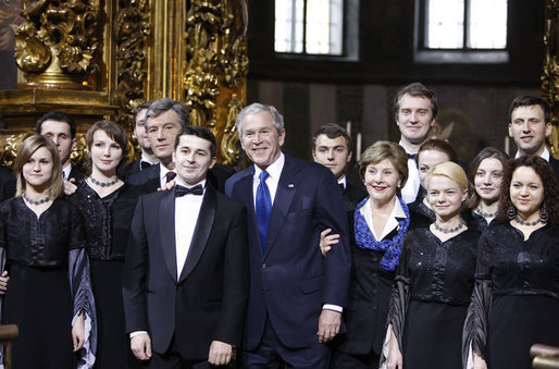 President George W. Bush and Mrs. Laura Bush pose for a photo with Ukrainian President Viktor Yushchenko and the Credo Chamber Choir Tuesday, April 1, 2008, after a musical performance at St. Sophia's Cathedral in Kyiv, Ukraine. White House photo by Chris Greenberg
