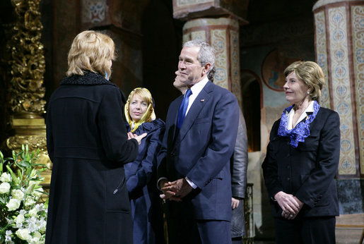 President George W. Bush and Mrs. Laura Bush are joined by Ukrainian President Viktor Yushchenko and his wife, first lady Kateryna Yushchenko, background, Tuesday, April 1, 2008, during a tour of St. Sophia's Cathedral lead by the Director of the Sofiya Kyivska Museum, Larisa Rusenko, in Kyiv, Ukraine. White House photo by Chris Greenberg