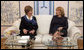 Mrs. Laura Bush and Mrs. Kateryna Yushchenko, wife of Ukraine's President Viktor Yushchenko, enjoy tea Tuesday, April 1, 2008, after ceremonies welcoming Mrs. Bush and President George W. Bush to Kyiv. White House photo by Shealah Craighead