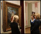 Mrs. Laura Bush and Mrs. Kateryna Yushchenko listen to Ms. Natalia Klimenko, General Director of the Taras Shevchenko National Museum, as she describes a painting by the great Ukrainian poet and artist during their tour Tuesday, April 1, 2008, in Kyiv. White House photo by Shealah Craighead