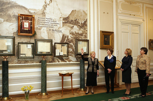 Mrs. Laura Bush, Mrs. Kateryna Yushchenko and Dr. Deborah Taylor, wife of U.S. Ambassador to Ukraine Bill Taylor, tour the Taras Shevchenko National Museum in Kyiv Tuesday, April 1, 2008. The museum honors the great Ukrainian poet, artist and thinker who died in 1861 at the age of 47 after spending 10 years in exile for his opposition to the social and national oppression of the Ukrainian people. White House photo by Shealah Craighead