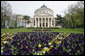 Pansies and tulips decorate the grounds outside the Romanian Athenaeum concert hall, venue for the April 3 cultural event at the 2008 NATO Summit in Bucharest. White House photo by Chris Greenberg