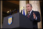 President George W. Bush emphasizes a point as he delivers remarks Tuesday, April 2, 2008, at the National Bank of Savings in Bucharest. White House photo by Shealah Craighead