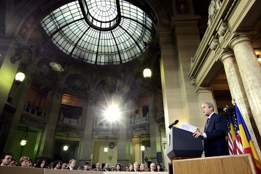 President George W. Bush delivers remarks Tuesday, April 2, 2008, at the National Bank of Savings in Bucharest, his first day in Romania, site of the 2008 NATO Summit. White House photo by Shealah Craighead