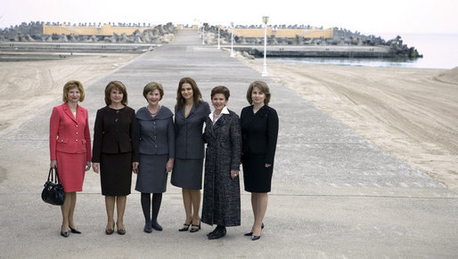 Mrs. Laura Bush and Mrs. Maria Basescu, second from left, spouse of Romania's President Traian Basescu, are joined for a photo opportunity with luncheon guests Wednesday, April 2, 2008, at the presidential seaside retreat in Neptun, Romania. Joining them are from left: Codrina Vierita, spouse of Adrian Vierita, Romanian Ambassador to the United States; Alexandra Coman, accomplished opera singer and fiancée of Adrian Cioroianu, Romania's Minister of Foreign Affairs; Jenny Taubman, spouse of Nick Taubman, U.S. Ambassador to Romania, and Maria Bitang, former Romanian Olympic Gymnastics Coach and State Advisor. White House photo by Shealah Craighead
