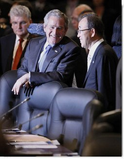 President George W. Bush speaks with United Nations Secretary-General Ban Ki-moon Thursday, April 3, 2008, during the 2008 NATO Summit in Bucharest. White House photo by Eric Draper