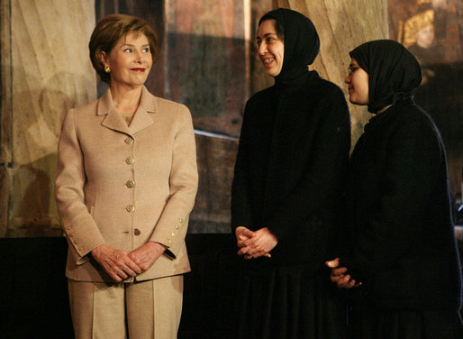 Mrs. Laura Bush smiles during her visit Friday, April 4, 2008, to Stavropoleos Church in Bucharest, Romania. The church, built in 1724, is an artistic monument displaying a well-balanced blend of Byzantine-oriental and Western-baroque elements. White House photo by Shealah Craighead