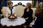 Mrs. Laura Bush and Croatia's First Lady Mrs. Milka Mesic sit for tea Friday, April 4, 2008, following the arrival of President and Mrs. Bush in Zagreb, where they will overnight before continuing on to Russia. White House photo by Shealah Craighead