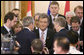 President George W. Bush confers with President Viktor Yushchenko of Ukraine, prior to the start of Friday's Summit Meeting of the NATO Ukraine Commission at the 2008 NATO Summit in Bucharest. White House photo by Eric Draper