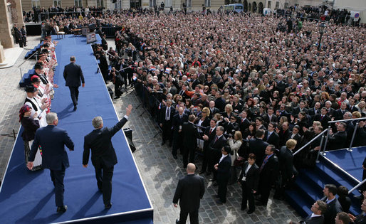 President George W. Bush and Prime Minister Ivo Sanader of Croatia are welcomed by thousands who flocked to St. Mark's Square in downtown Zagreb Saturday, April 5, 2008, to see and hear the U.S. President. White House photo by Chris Greenberg