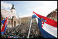 Thousands jam St. Marks's Square in Zagreb to see and hear President George W. Bush and Prime Minister Ivo Sanader of Croatia Saturday, April 5, 2008. White House photo by Chris Greenberg