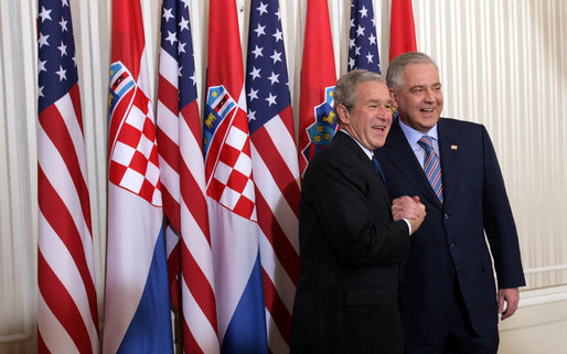 President George W. Bush and Prime Minister Ivo Sanader of Croatia, smile for cameras at Banski Dvori in Zagreb Saturday, April 5, 2008. The President and Mrs. Bush spent the morning in the Croatia capital before continuing on to Sochi, Russia, on the last leg of their Eastern European visit. White House photo by Chris Greenberg