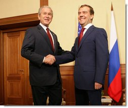 "President George W. Bush shakes hands with President-elect Dmitry Medvedev at the top of their meeting Sunday, April 6, 2008, at the State Residence of the President of Russia, Bocharov Ruchey in Sochi, Russia. President Bush thanked the President-elect, saying, ""I'm looking forward to getting to know you, so we'll be able to work through common problems and find common opportunities."" White House photo by Chris Greenberg"