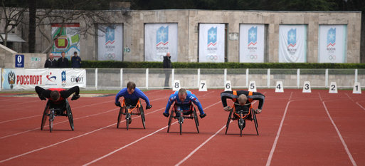 Members of the Russian Paralympic Team participate in the 100-meter sprint exhibition for Mrs. Laura Bush Sunday, April 6, 2008, at Central Sochi Stadium in Sochi, Russia. White House photo by Shealah Craighead
